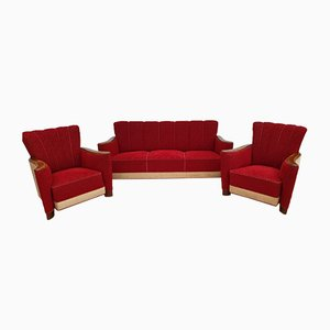 Oak Wood Sofa and Armchairs, 1930s, Set of 3