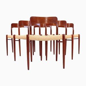 Chaises de Salle à Manger Modèle 75 en Teck par Niels Otto Møller pour J.L. Møllers, 1990s, Set de 6