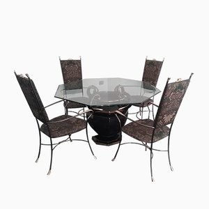 Ceramic, Glass & Metal Dining Table & Chairs Set, 1980s, Set of 5