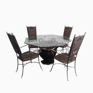 Juego de mesa de comedor y sillas de cerámica, vidrio y metal, años 80. Juego de 5