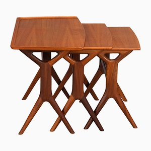Teak Nesting Tables by Johannes Andersen for CFC Silkeborg, 1960s