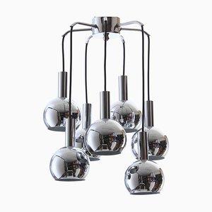 Lámpara de araña cromada, años 70