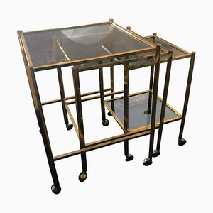 Mid-Century Italian Brass and Smoked Glass Nesting Tables by Gabriella Crespi, 1960s