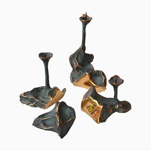 Mid-Century Bronze Candleholder Set from Aragoreses, Set of 4
