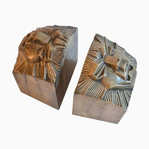 Art Deco Ceramic Lion Head Bookends, 1920s, Set of 2