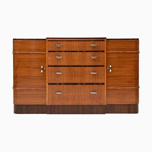 Art Deco British Walnut and Rosewood Sideboard from Heals, 1930s