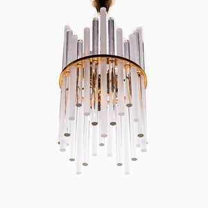 German Gilt Brass and Crystal Glass Chandelier from Palwa, 1960s