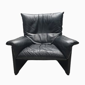 Black Leather Armchair by Vico Magistretti for Cassina, 1980s