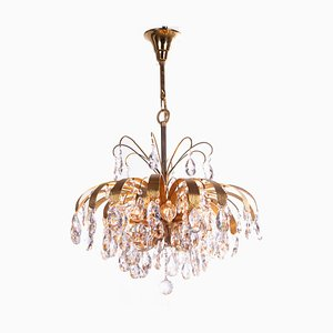 German Crystal and Gilt Brass Leaf Chandelier from Palwa, 1960s