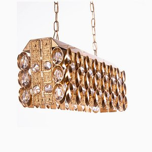 Crystal and Gilt Brass Chandelier from Palwa, 1960s