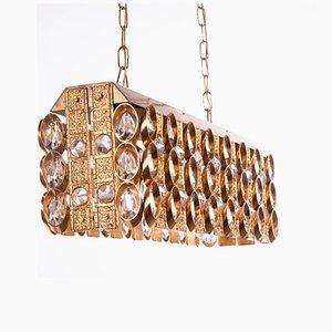 Lámpara de araña de cristal y latón dorado de Palwa, años 60