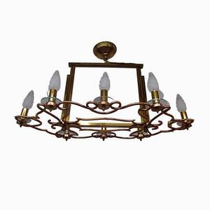 Brass and Copper Chandelier, 1940s