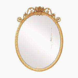 Antiker ovaler Spiegel mit vergoldetem Rahmen, 1820er
