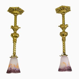 Art Glass and Gilt Bronze Pendant Lamps from Muller Strasbourg, 1920s, Set of 2