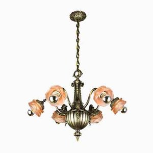 Bronze and Frosted Glass 6-Arm Chandelier, 1920s