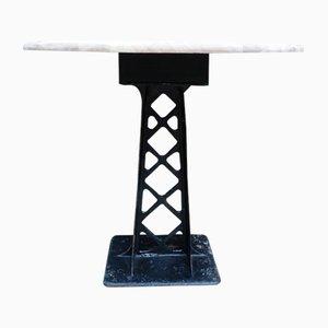 Mesa de comedor Mid-Century redonda de roble y hierro fundido