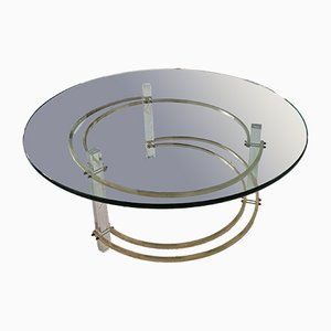 Large Mid-Century Brass and Lucite Coffee Table by Charles Hollis Jones, 1970s