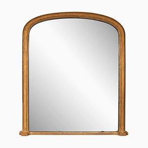 Espejo inglés antiguo con marco dorado para repisa de chimenea