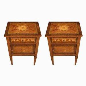 Tables de Chevet en Contreplaqué Louis XVI, Italie, années 60, Set de 2