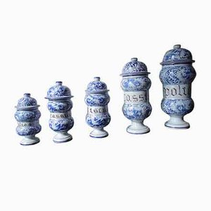 Antique Ceramic Apothecary Containers, Set of 5