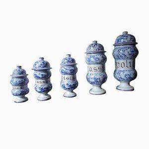 Contenitori da farmacia antichi in ceramica, set di 5
