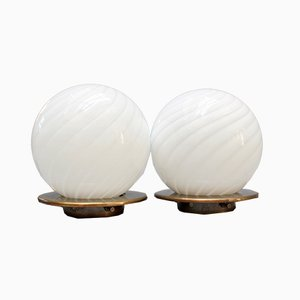 Murano Glass Globe Table Lamps, 1950s, Set of 2