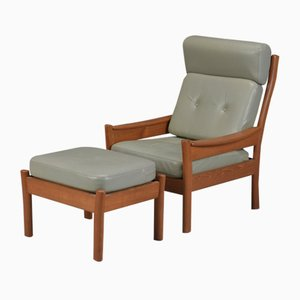 Vintage Lounge Chair and Footstool Set from Dyrlund, 1960s
