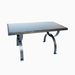 Tavolino brutalista vintage in ferro battuto di Raymond Subes, Francia