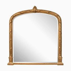 Espejo de repisa antiguo con marco dorado