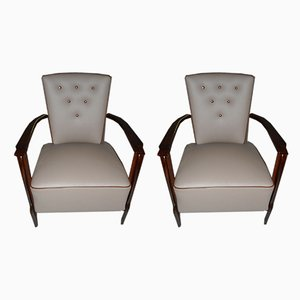 Leather and Rosewood Armchairs, 1940s, Set of 2