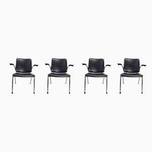 Armlehnstühle mit Stahlrohrgestell von Martin de Wit für Gispen, 1960er, 4er Set
