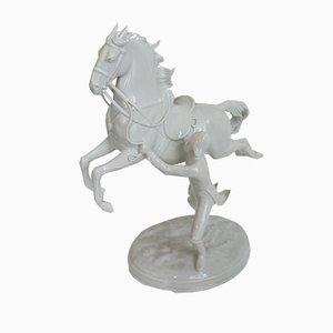 Sculpture Cheval et Cavalier en Porcelaine de Augarten Porzellan, Autriche, années 50