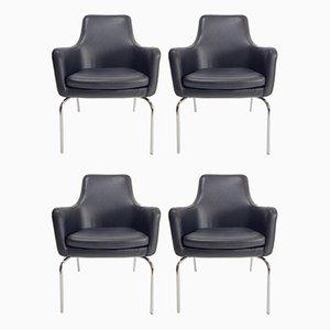 Dänische Esszimmerstühle mit schwarzem Lederbezug, 1960er, 4er Set