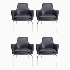 Danish Black Leather Dining Chairs, 1960s, Set of 4