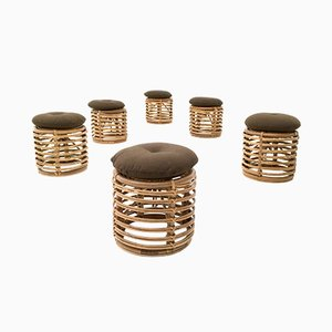 Dark Brown Childrens Stools, 1960s, Set of 6