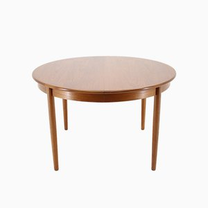 Danish Teak Extendable Round Dining Table, 1960s