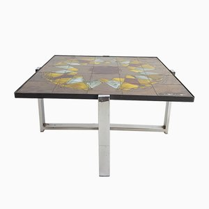 Chromed Metal and Ceramic Tile Coffee Table by Juliette Belarti for Belarti, 1960s