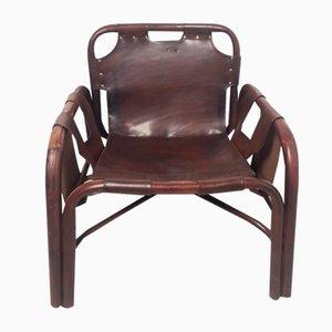 Italienischer Vintage Sessel aus Bambus & Leder, 1960er