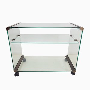 Glass and Bronze Serving Trolley by Pierangelo Gallotti for Gallotti & Radice, 1980s