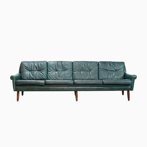 Danish Green Leather 4-Seater Sofa by Svend Skipper for Skipper, 1960s