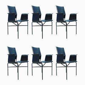 Italienische Esszimmerstühle mit schwarzem Lederbezug von Matteo Grassi, 1980er, 6er Set