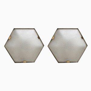 Hexagonale Deckenlampen von Stilnovo, 1950er, 2er Set