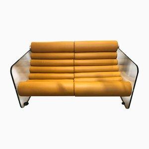 Mid-Century Hyaline Sofa aus hellbraunem Leder & Glas von Fabio Lenci für Comfort Italy