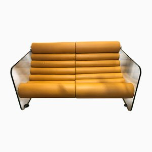 Mid-Century Hyaline Tan Leather and Glass Sofa by Fabio Lenci for Comfort Italy