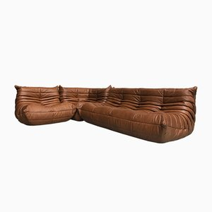 Dark Cognac Leather Togo Sofas by Michel Ducaroy for Ligne Roset, 1970s, Set of 3
