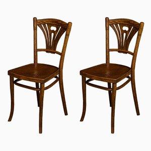 Beistellstühle aus Bugholz von Thonet, 1920er, 2er Set