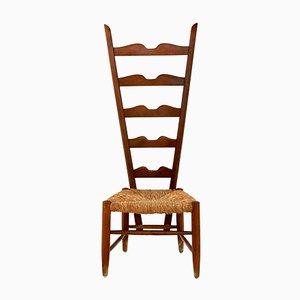 Italienischer Beistellstuhl mit Gestell aus Nussholz & Sitz aus Binsengeflecht von Gio Ponti für Casa e Giardino, 1930er