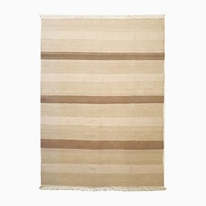 Indian Beige and Brown Wool Kilim Rug, 1974
