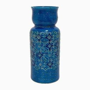 Jarrón de cerámica azul de Aldo Londi para Bitossi, años 60