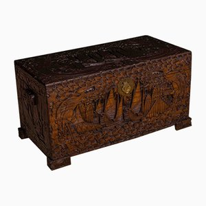 Carved Camphor Wood Box, 1930s